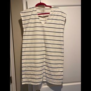NWOT Madewell cream dress with blue stripes!